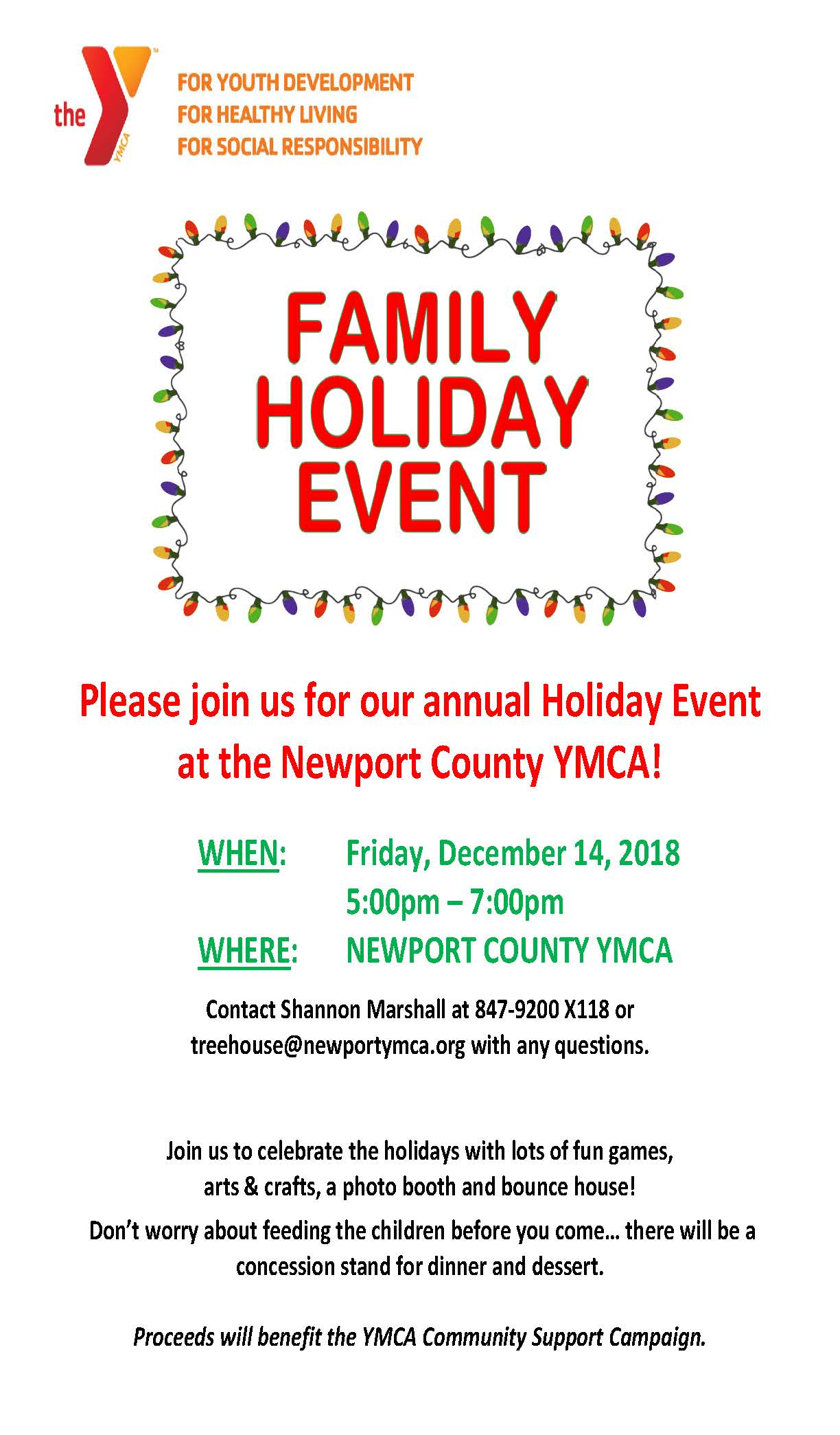 family holiday event 2018 flyer newport ymca